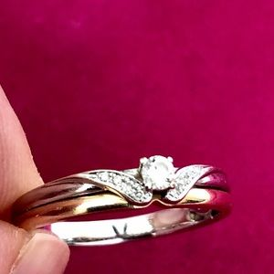 Gold ring with diamonds 16.5 euro (6 us)